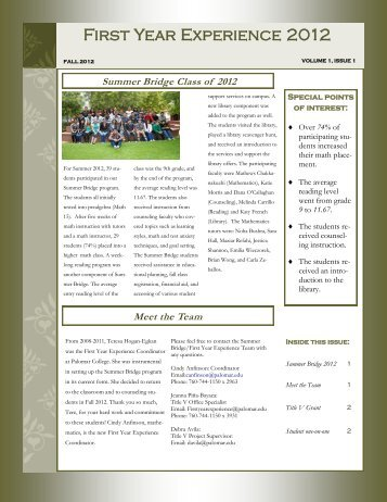 Summer Bridge Newsletter, Issue 1 - Palomar College