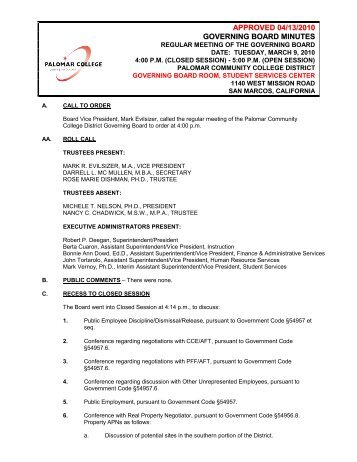 approved 04/13/2010 governing board minutes - Palomar College