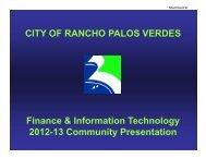Finance & IT Community Presentation - Palos Verdes on the Net