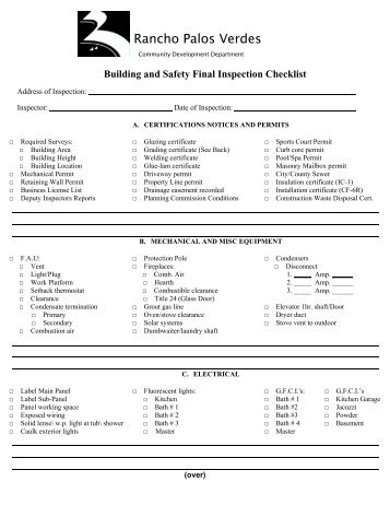 Inspection checklist domestic final for Final inspection checklist new home