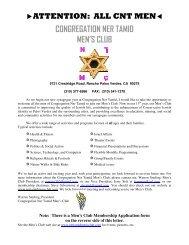 congregation ner tamid men's club - Palos Verdes on the Net