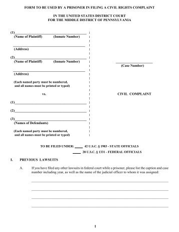 Prisoner Complaint PackageInstructions And Forms For Filing A Civil
