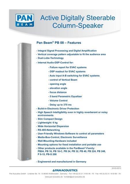 PanBeam PB 08 (PDF) - Pan Acoustics