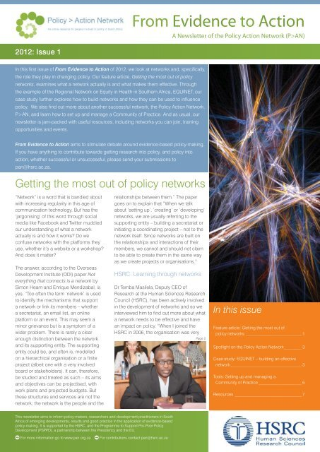 Evidence to Action-2012-1-policy-networks-final-May2012 pdf