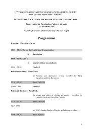Programme - PanAfrican Archaeological Association