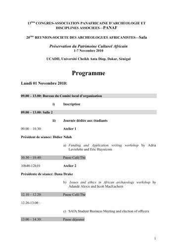Programme - PanAfrican Archaeological Association
