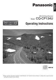 CQ-C1401U Model: CQ-CP134U Operating Instructions ... - Panasonic