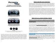 pressurepro description pre-installation instructions - Pana-Pacific
