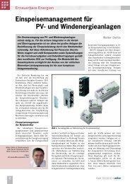 Einspeisemanagement für PV- und Windenergieanlagen