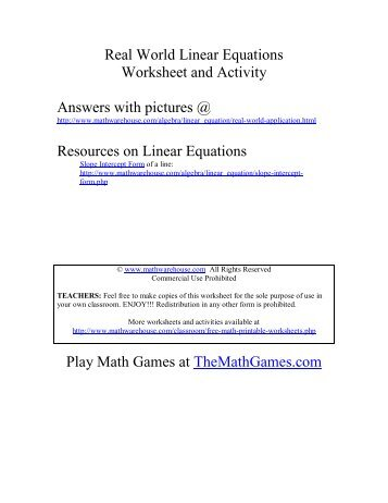 Real World Linear Equation Worksheet and Activity - Math Warehouse