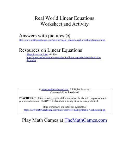 Real World applications of Linear Equations - Math Warehouse
