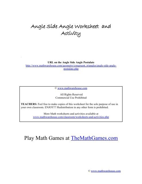 Angle Side Angle Worksheet and Activity Play     - Math