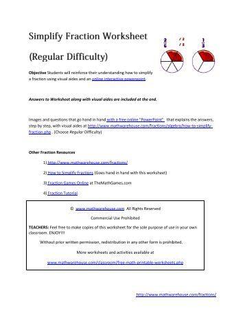 Arithmetic homework help simplification of fractions