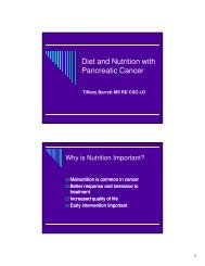 Diet and Nutrition with Pancreatic Cancer