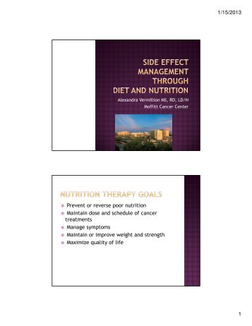 Side Effect Management through Diet and Nutrition
