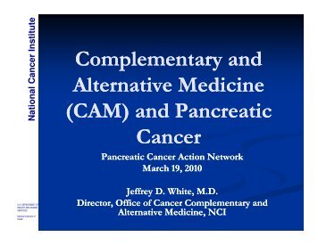 (CAM) and Pancreatic - Pancreatic Cancer Action Network