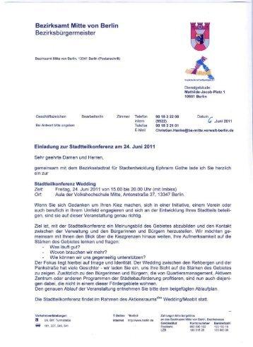 bezirksamt mitte von berlin herr ephraim gothe  - frank bertermann, Einladung