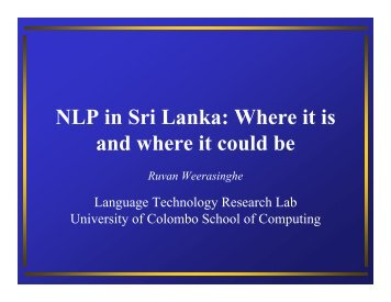 NLP in Sri Lanka: Where it is and where it could be