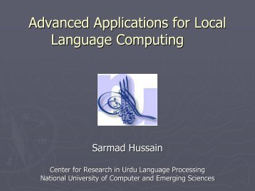 Advanced Applications for Local Language ... - PAN Localization