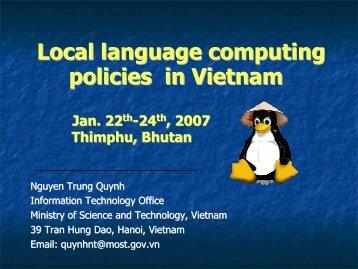 Local language computing policies in Vietnam - PAN Localization