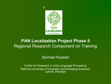Regional Research Component on Training - PAN Localization