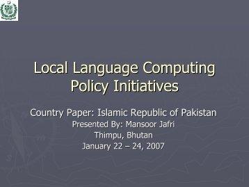 Pakistan-countryreport - PAN Localization