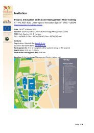 Invitation Project, Innovation and Cluster Management Pilot Training