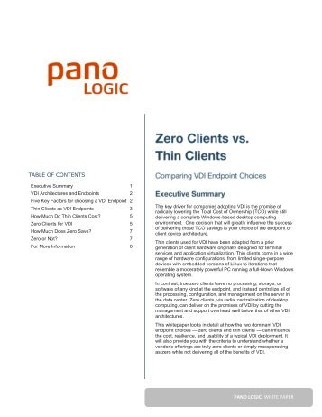 Zero Clients vs. Thin Clients: Comparing VDI Endpoint ... - Pano Logic