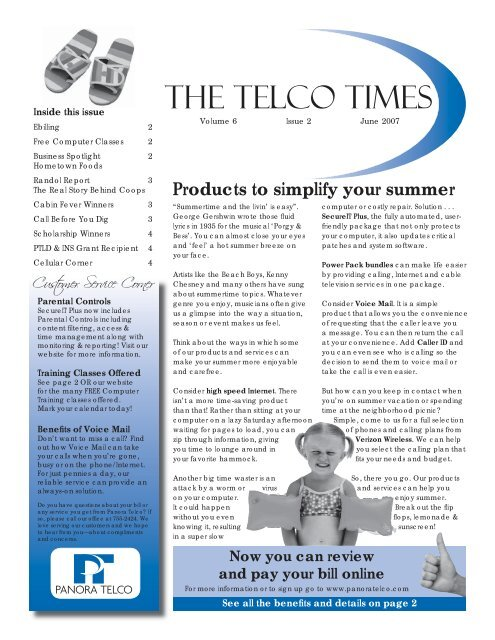 June - Panora Cooperative Telephone Association, Inc