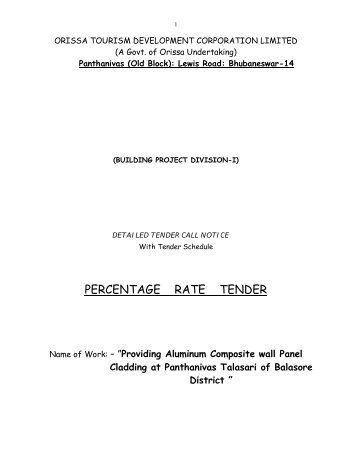 percentage rate tender - Orissa Tourism Development Corporation Ltd.