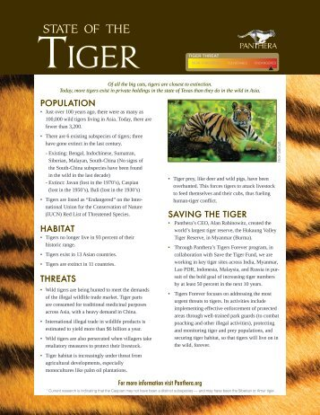 Tiger Report Card - Panthera