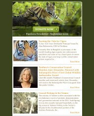 September 2012 Newsletter - Panthera