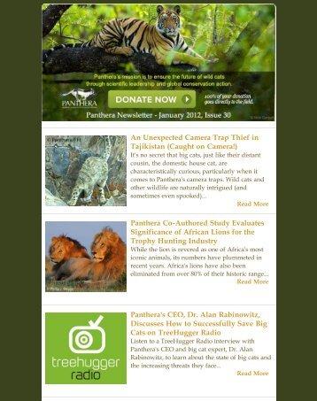 January 2012 Newsletter - Panthera
