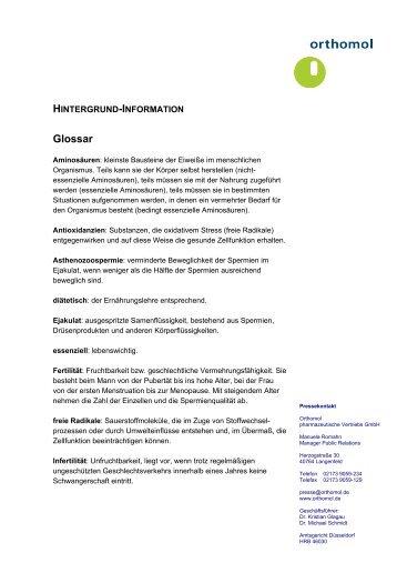 Pressetext: Orthomol Fertil plus ® Glossar - PAPA-GLUECK.de