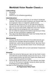 Kurzanleitung Victor Reader Classic - FH Papenmeier GmbH & Co ...