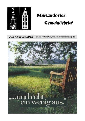 Juli / August 2012 - Evangelische Kirchengemeinde Mariendorf