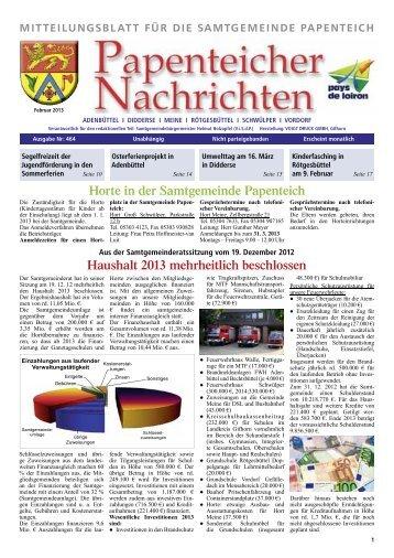 Horte in der Samtgemeinde Papenteich Haushalt 2013 mehrheitlich ...
