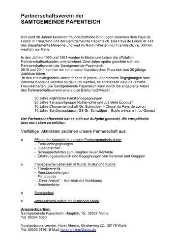 Partnerschaftsverein der SAMTGEMEINDE PAPENTEICH