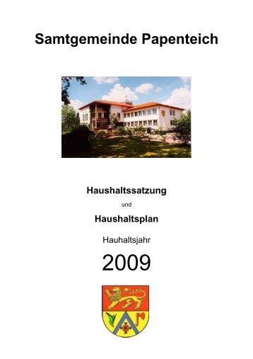 Haushaltsplan 2009 - Samtgemeinde Papenteich