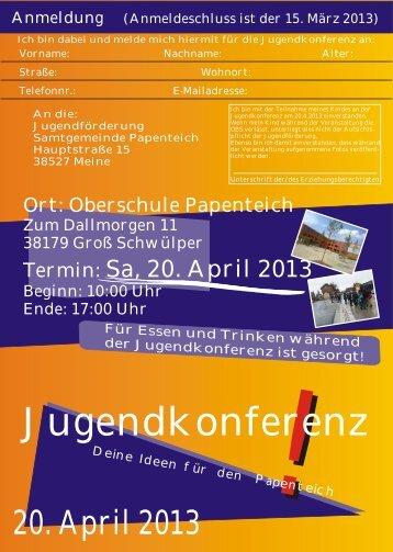 Jugendkonferenz Flyer mit Anmeldung - Samtgemeinde Papenteich