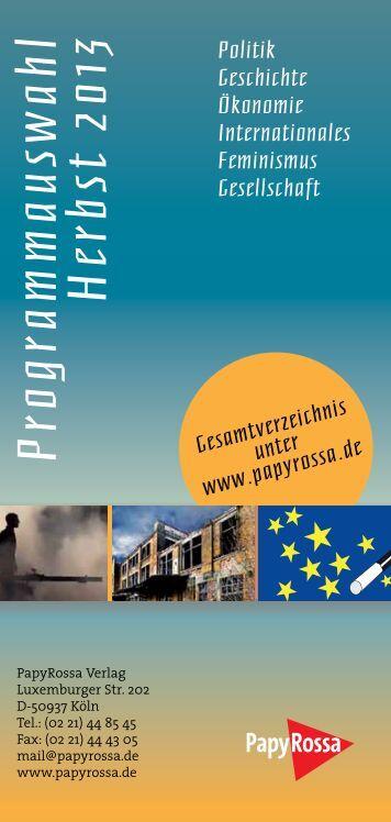 Download Programmauswahl Herbst 2013 - beim PapyRossa Verlag!