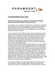 Paramount Fitness Corp. Introduces Versatile Dual-Weight Stack ...
