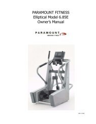 6.85E Elliptical Trainer Owner's Manual - Paramount Fitness