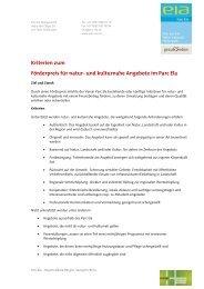 Kriterien zum Förderpreis für natur- und kulturnahe ... - Parc Ela