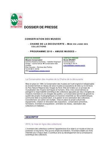DOSSIER DE PRESSE - Parc naturel régional des Vosges du Nord