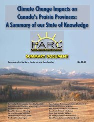 Climate Change Impacts on Canada's Prairie Provinces: A Summary ...