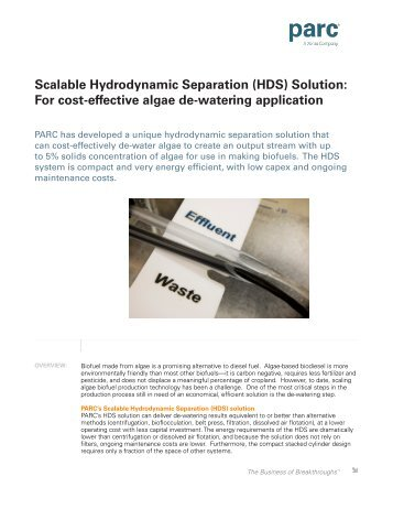 Scalable Hydrodynamic Separation (HDS) Solution: For cost ... - Parc