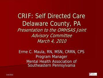 CRIF: Self Directed Care Delaware County, PA - Pennsylvania ...