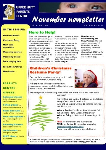 November newsletter - Parents Centres New Zealand Inc