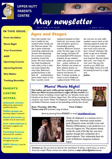 May newsletter - Parents Centres New Zealand Inc